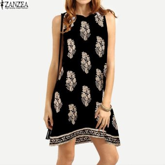 ZANZEA Womens Summer Print Round Neck Beach Sundress Short MiniShift Dress Ladies Party Vestidos (Black) - intl Price Philippines
