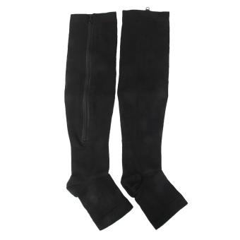 Zipper Compression Socks Zip Leg Support Knee Stockings Open Toe Black XXL - 2