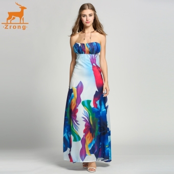 Zrong Women Fashion Sexy Strapless Off Shoudler Floral Evening Party Cocktail Dress A-Line Long Maxi Dress - intl