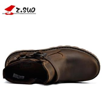 Z.SUO Men's Fashion Straps Biker Boots Cowhide Leather Shoes (DarkBrown) - intl - 5