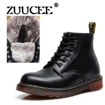 ZUUCEE Brand New Men Ankle Boots, High Quality Leather Snow BootsFor Men, Super Warm Mens Winter Snow Boot(black) - intl