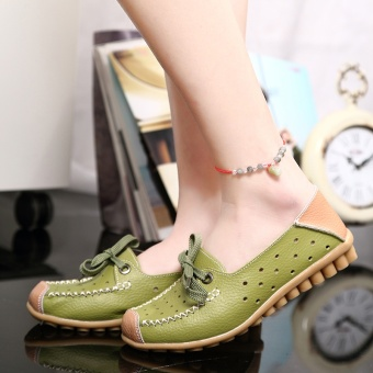 ZUUCEE Fashion flat with casual shoes lace with a single shoessmall white shoes female round leather flat shoes female students(green) - intl - 3