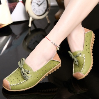 ZUUCEE Fashion flat with casual shoes lace with a single shoessmall white shoes female round leather flat shoes female students(green) - intl - 2