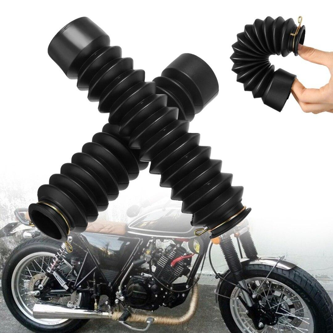 Universal Motorcycle Front Fork Cover Protector Gaiters Gators Boot Shock Rubber