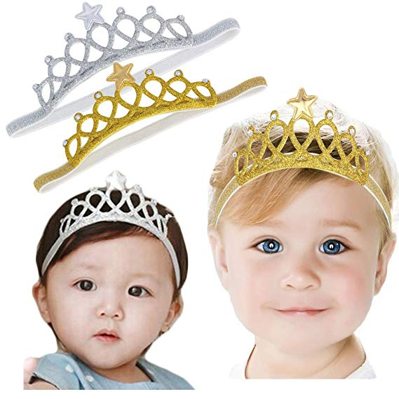 1pcs Gold Baby Girls Infant Toddler Cute Crown Headband Hair Band Headwear
