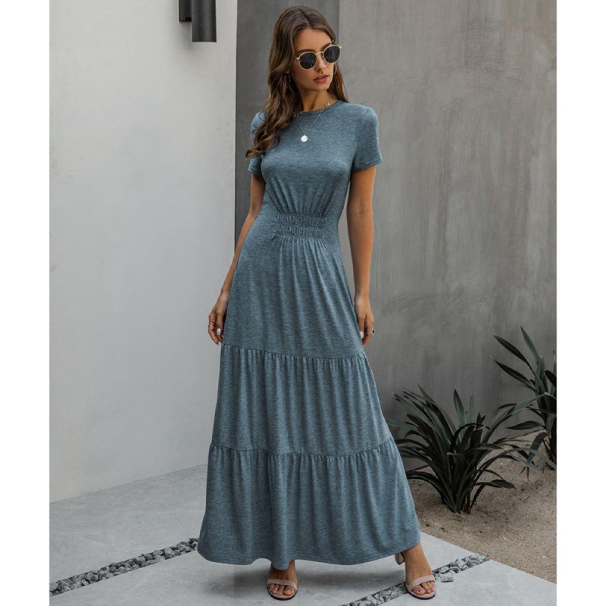 Long Robes T Shirt Dress Women Elegant Ruched A Line Dresses Casual Ladies Summer Maxi Dresses Lazada