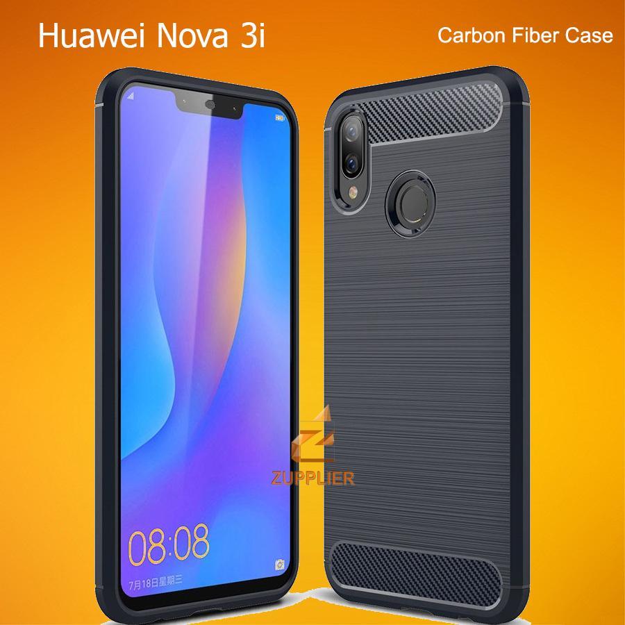 competitive price 4f27d 448b0 Huawei Nova 3i Case Carbon Fiber Brushed Soft TPU Shock Proof Tough Rugged  Slim Armor Back Cover Case