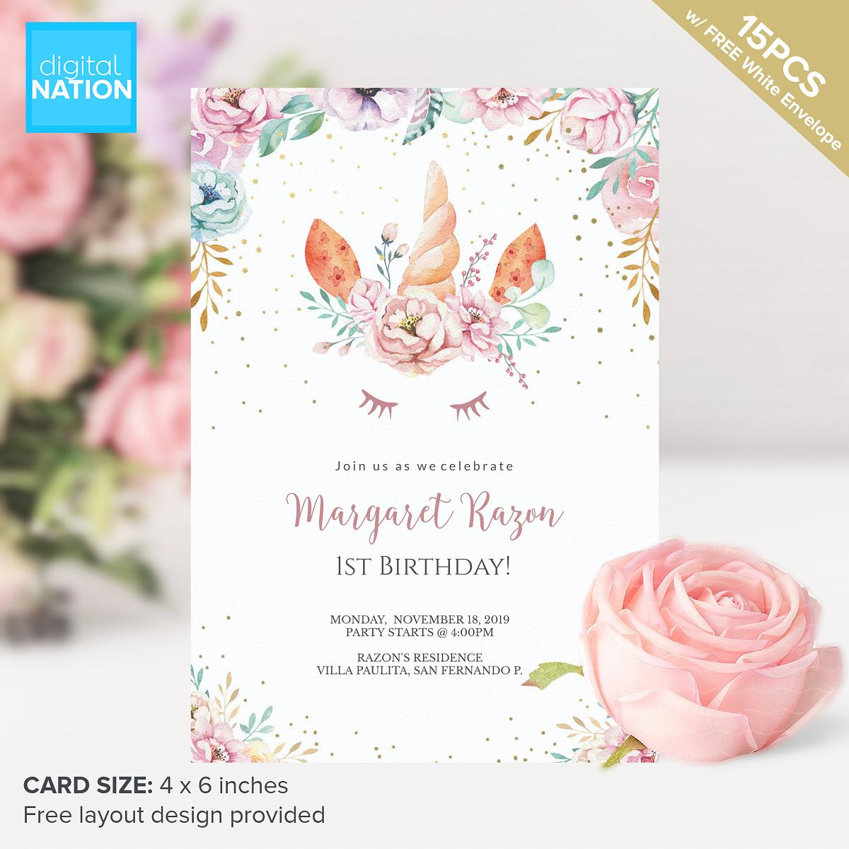 15pcs Birthday Invitation Card Personalized Invitations For Birthday Free Layout Design Floral Unicorn Party