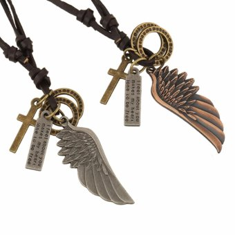 1 Pair Angel Wing Cross Pendant Necklace for Couple Lovers' Gift - intl