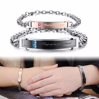 1 Pair Lovers Couple Letter Carving Inlay Zircon Titanium Steel Bracelet - intl
