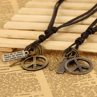 1 Pair Peace Sign Pendant Necklace PU Leather Chain Necklace for Couple Lovers' Gift - intl