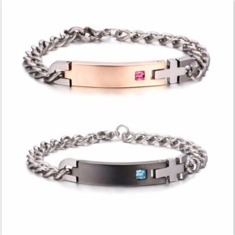 1 Pair Titanium Steel Lovers Bracelet Couples Bracelet for Valentines Gift - intl