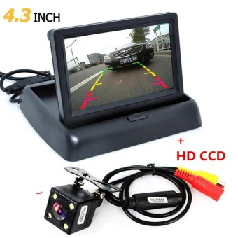1 Set Foldable 4.3 Inch TFT LCD Mini Car Monitor with Rear View Backup Camera for Vehicle Reversing Parking System - intl