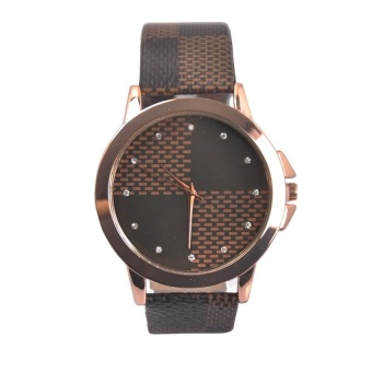 1048 Checkered Design with Diamond Dots Leather Watch (Brown) #0127