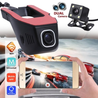 1080P Wifi Car Hidden DVR Camera with Dual Lens Night Vision Dash - intl