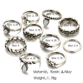 10pcs/set Bohemian Moon Flower Ring for Women - intl - 4