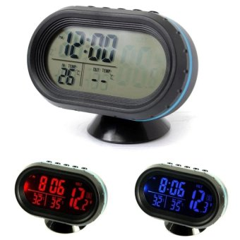 12-24V Digital Auto LCD Display Backlight Temperature ThermometerCar Voltmeter Digital Tester Monitor Meter Voltage Alarm Clock -intl Price Philippines