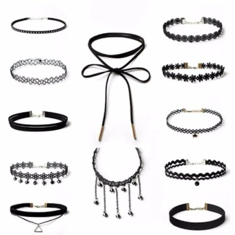 12Pcs Black Gothic Punk Velvet Tattoo Lace Choker Necklace LongPendant Women Collar Jewelry Chocker Necklaces - intl
