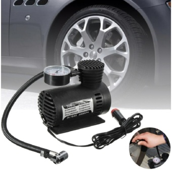 12V Auto Car Electric Air Compressor Tire Infaltor Portable Tire Inflator Pump 300 PSI (Black) - intl