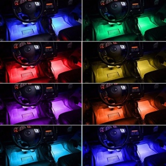 12V Car Atmosphere Lights Waterproof 2 Pieces Light Strips FlexibleLED Auto Interior Decoration Floor Lamp Lighting Kit Remote Control- intl - 3