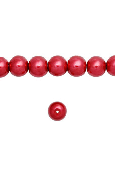 150pcs Round Glass Pearl Spacer Beads 6x6x6mm Red