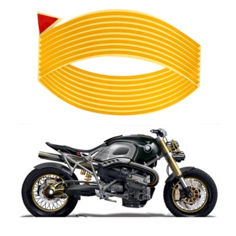16 Pcs 12 inch Car Wheel Sticker Reflective Wheel Sticker Rim Stripe Tape Bike Motorcycle Car Styling Yellow Color - intl