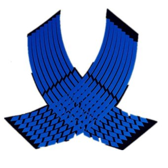 16 Strips Wheel Sticker Reflective Rim Stripe Tape Bike Motorcycle Car 16 17 18inch Blue - 2