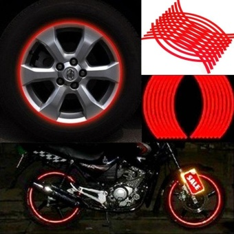18 Strips Motorcycle Car Wheel Tire Stickers Reflective Rim Tape Red - intl