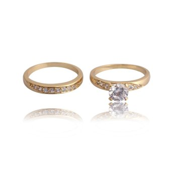 18K Gold Plated Zircon Inlaid Wedding Couple Ring