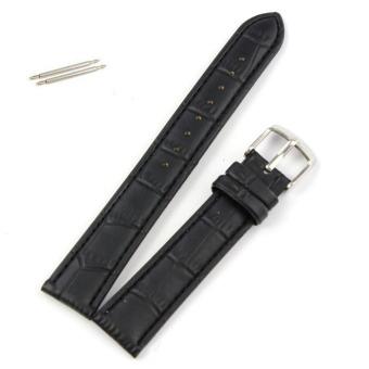 18mm Soft Genuine Leather Strap Steel Buckle Wrist Watch Band Black