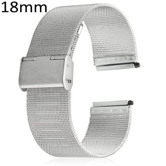 18mm Stainless Steel Mesh Bracelet Watch Band Replacement Strap for Men Women (Silver) - 2