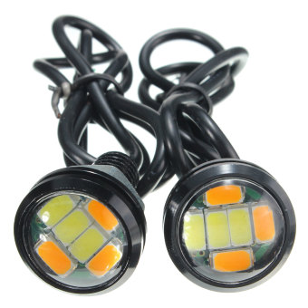 1Pair 12V DC 23MM 5730 6 LED Eagle Eye Daytime Running Dual Color DRL Car Light