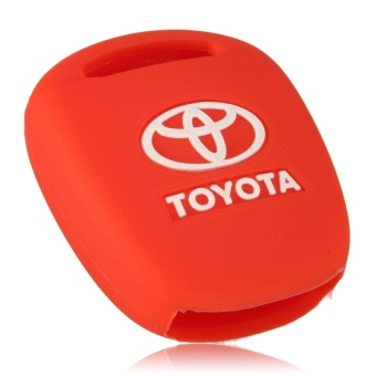 2 Buttons Black Silicone Cover Shell For Toyota Prius 4Runner Straight Corolla RAV4 Camry Remote Key Case (Red) - intl - 3