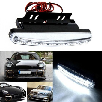 2 PCS 6000K Car Led Running Light 8LED DRL Car Fog Lamp White Light DC 12V - intl