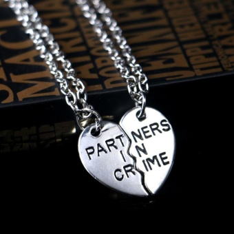 2 Pcs Partners in Crime Half Love Heart Pendant Best Friends Necklace Set Friendship Gift - intl Price Philippines