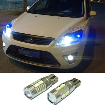2 X T10 W5W Car LED Auto Lamp 12V Clearance Light bulbs with Projector Lens for ford focus 2 3 fiesta mondeo ecosport kuga drl(white light) - intl