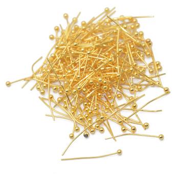 200pcs 20mm 18K Light Gold PLATED Brass BALL PINS HEADPINS - picture 2