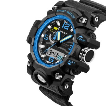 2016 High Quality SANDA 732 Multifunctional Outdoor SportsWaterproof Shockproof Electronic Watch(blue)