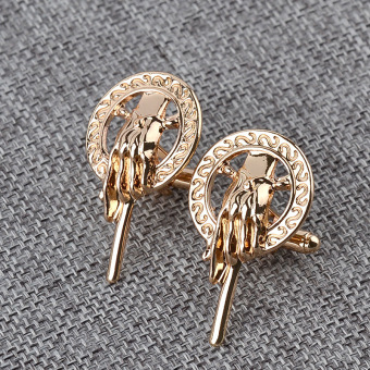 2016 NEW game of thrones 3.9X2.2CM hand of the king golden alloy Cufflinks for mens cosplay props cuff buttons shirt cuff links A - Intl - 3