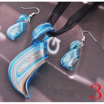 2017 Fashion Glass Pendant Necklace Earrings Set Womens Twisty Lampwork Glass Earring Sets - intl - 3