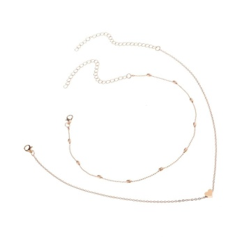 2017 Fashion Heart Love Double Layer Choker Necklace Gold Silver Beads Chain Women's Charming Jewelry Gift Gold - intl - 5