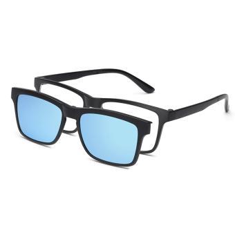 2017 Multi-function Sunglasses Magnetic Polarized Clip Myopia Sunglasses for Male Women Tr90 Super Light Eyeglass Frames tr2202Blue - intl - 3