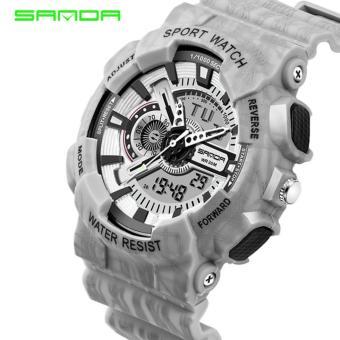 2017 Quartz Digital Camo Watch Men Dual Time Man Sports Watches MenSANDA 799 S Shock Military Army Reloj Hombre LED Wristwatches -intl - 2