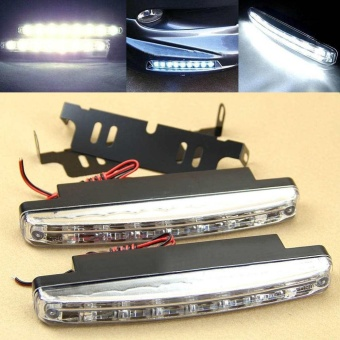 2pcs Car Daytime Running Light 8 LED DRL Daylight Kit Super White Head Lamp - intl