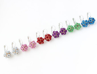 2pcs Flower Stereoscopic Rose earrings red - 3
