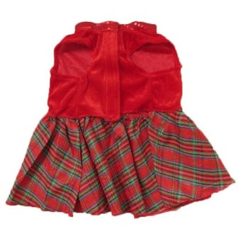 2Pcs Lovely Puppy Plaid Bow Apparel Red Dress Clothes Pet Dog Skirt(Size:S)- intl - 4