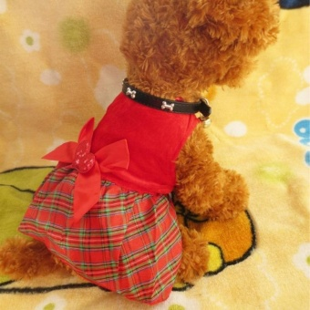 2Pcs Lovely Puppy Plaid Bow Apparel Red Dress Clothes Pet Dog Skirt(Size:S)- intl - 2