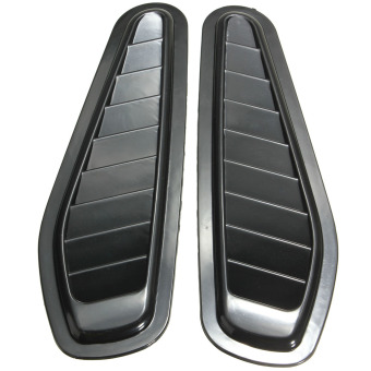 2x Car Decorative Air Flow Intake Hood Vent Bonnet Fender Grill Universal OB0522 Black