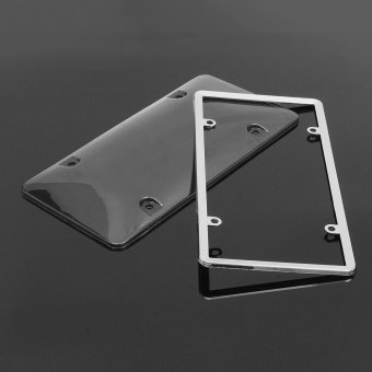 320872934595 CLEAR PLASTIC LICENSE PLATE SHIELD +BLACK FRAME bugcover tag protector plastic - intl - 3