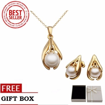 Treasure by bd s312 artificial pearl pendant necklace and treasure by bd s312 artificial pearl pendant necklace and earrings party jewellery set gold mozeypictures Choice Image